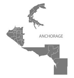 anchorage alaska city map with neighborhoods grey vector image