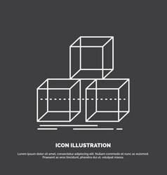 Arrange design stack 3d box icon line symbol for vector