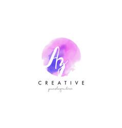 Az watercolor letter logo design with purple vector