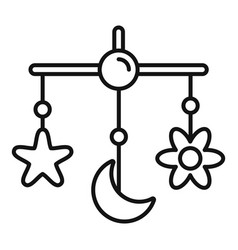 Baby crib toy icon outline style vector