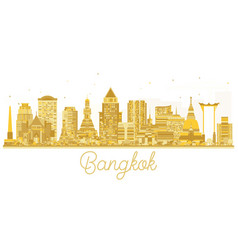 Bangkok city skyline golden silhouette vector