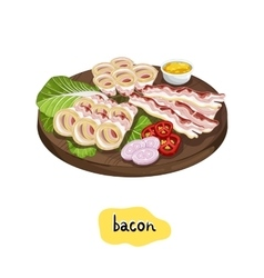 Barbecue bacon assorted on cutting board vector image