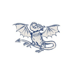 Basilisk Crowing Etching vector image