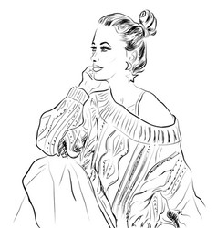 beautiful young woman in skirt sketch vector image