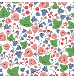 bell flowers and berries seamless pattern vector image