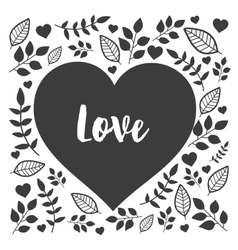 Black heart with hand drawn nature sign love vector image