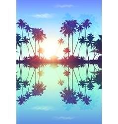 Blue skypalms silhouettes with reflection vector