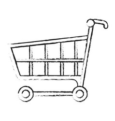 Blurred silhouette cartoon shopping cart vector