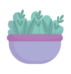 Bowl with vegetable leaves food cartoon icon style vector
