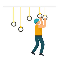Boy zip line rings icon flat style vector
