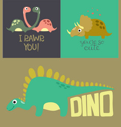 Card with cute dino vector