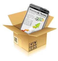 Cardboard Box with Smart Phone vector