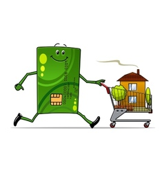 Cartoon credit card pushing a cart with house vector