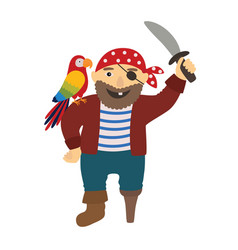 Cartoon pirate pirate with a parrot on his vector