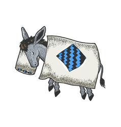 cartoon sleeping donkey sketch engraving vector image