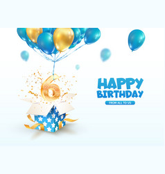 Celebrating 6 th years birthday 3d vector