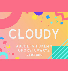 cloudy display font vector image