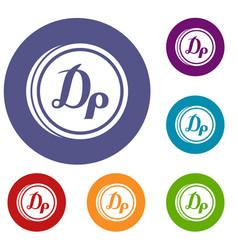 Coin drachma icons set vector