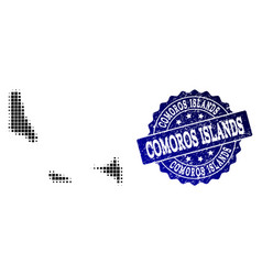 collage of halftone dotted map of comoros islands vector image