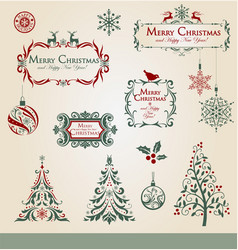 collection ornamental christmas decorations vector image