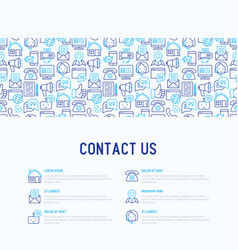 Contact us concept with thin line icons vector