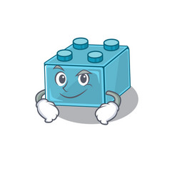Cool lego brick toys mascot character vector
