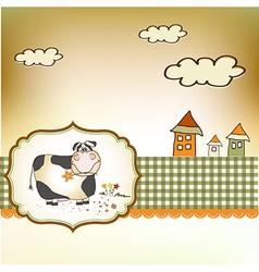 Cute happy cow vector
