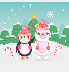 cute polar bear and penguin with candy cane merry vector image