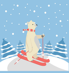 Cute polar bear happy skiing with tree background vector