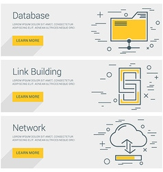Database Link Building Network Line Art Flat vector