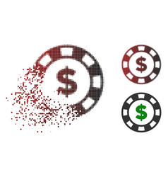 Dissolved dotted halftone dollar casino chip icon vector