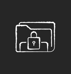 Documents security chalk white icon on black vector