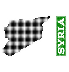 Dotted map of syria and grunge rectangle rounded vector