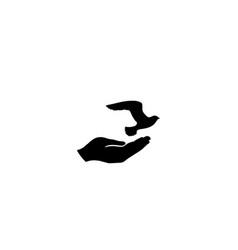 Dove bird in hand peace sign pigeon fly icon vector