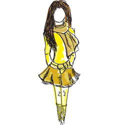 drawn colored young girl in yellow clothes vector image