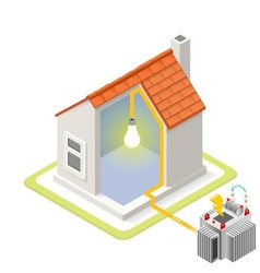 Energy Chain 09 Building Isometric vector