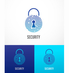 Fingerprint scan logo privacy lock icon cyber vector