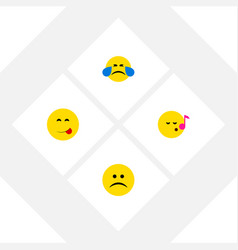 flat icon expression set of sad cold sweat vector image