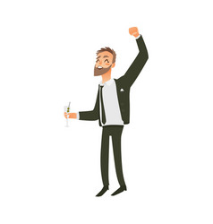 flat office worker man dancing at party vector image