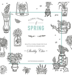 Floral Frame Invitation Card Wedding Card vector image