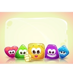 Funny background with cute shape characters vector image