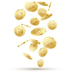 golden coins falling on white 3d gold money vector image