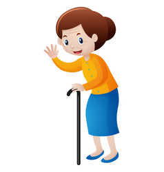 grandmother with walking stick vector image