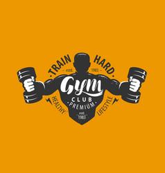 gym club logo or emblem sport bodybuilding vector image
