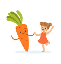 happy girl having fun with fresh smiling carrot vector image