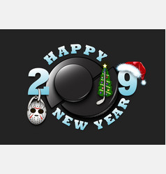 Happy new year 2019 and hockey puck vector