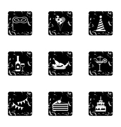 Holiday icons set grunge style vector