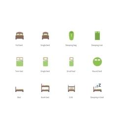 Hotel beds and Sleep signs color icons on white vector image