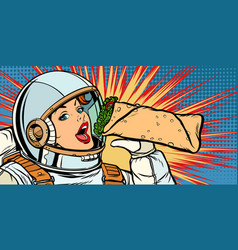 Hungry woman astronaut eating kebab doner shawarma vector