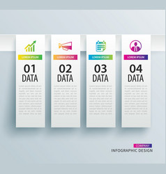 infographics tab in vertical paper index with 4 vector image